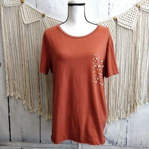 4/$25 Zara Trafaluc Rust Orange Beaded Pearl Top L